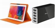 Trust Wall Charger a Aeroo Folio Stand: příslušenství k mobilům a tabletům